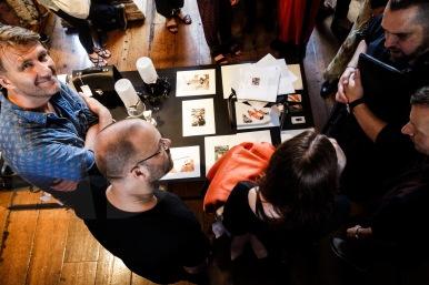 Verena Schepperheyn explaining her work. On the left Christophe Mollet
