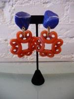 "Yves Saint Laurent by Loulou de la Falasie designed resin cobalt and coral earrings, c. 80s. 3 1/2"""