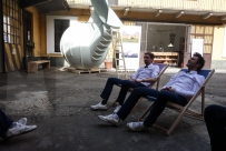 workmates headquarters at weltevree; in the beach chair by erik stehman