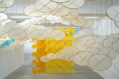 Jacob Hashimoto, The Other Sun, 2012, bamboo, paper, dacron, acrylic, cotton thread, Installation view at Ronchini Gallery