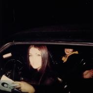 Priscilla Presley '60 in the car at Graceland