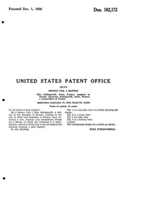 1936, patent for a bottle design