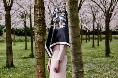 "Headless girl resting at the park. Photography Wendelien Daan. Silk scarf ""mirror""; Mimi Berlin, Dress; Vintage Snatcher's Courreges."