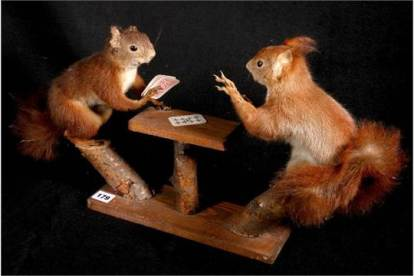 Colin Scott taxidermy model of two squirrels playing cards, 30cm