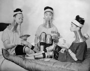 ca 1935: Three Padaung women play cards. Image: Keystone/Getty Images (via mashable)