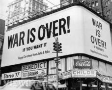 Merry christmas from John Lennon and Yoko Ono. A large Christmas peace message reading 'War Is Over !' from John Lennon and Yoko Ono on a billboard in New York City. The message, protesting against US involvement in the Vietnam War, (Photo by Three Lions/Getty Images)