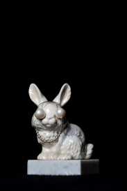 Mimi Berlin 2014. Rabbit a.12 (Assembled 1970s porcelain signed Goebel/ Small faux pearls/Large sweet water pearls/Marble) 6,5 x 6,5 x 11 cm