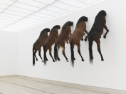 View of the exhibition KAPUTT, 2013 Taxidermied horses Edition of 3, plus 2 artist's proofs of Untitled, 2007 Image provided by Fondation Beyeler / Photo: Serge Hasenböhler, Basel