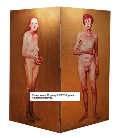 ©Ignasi Adam & Eve 2x2 diptych, Digital print on wood. on exhibit at the pop-up chapel palau-de-casavells (screenshot from www.ignasimonreal.com)